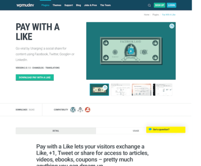 WPMU DEV: Pay with a like WordPress Plugin