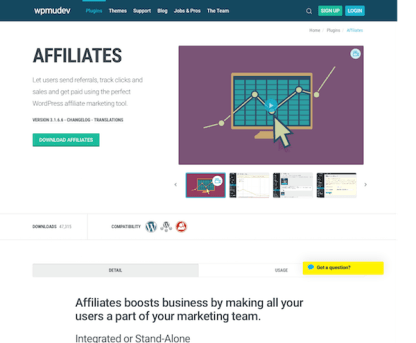 WPMU DEV: Affiliates WordPress Plugin