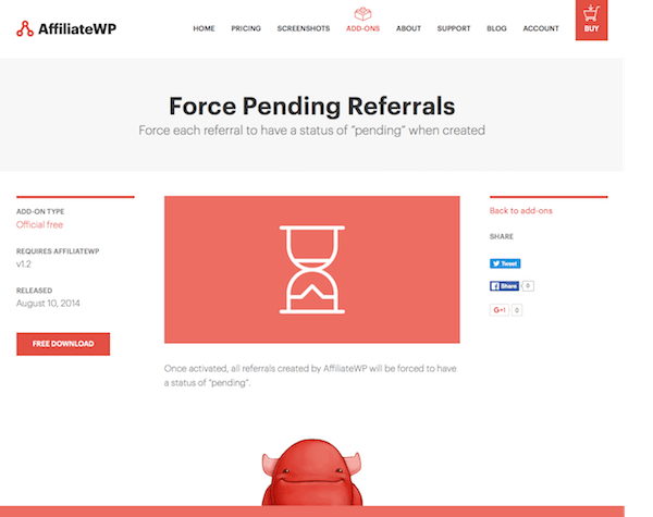 AffiliateWP: Force Pending Referrals