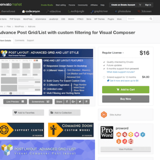Codecanyon: Advance Post Grid/List with custom filtering for Visual Composer