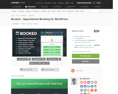 Codecanyon: Booked - Appointment Booking for WordPress