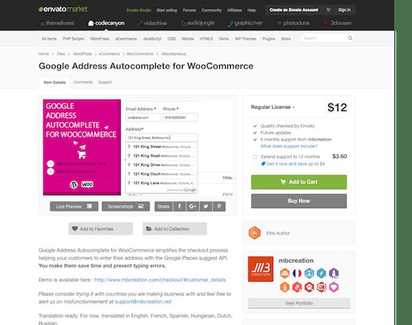Codecanyon: Google Address Autocomplete for WooCommerce