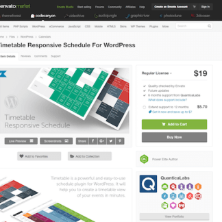 Codecanyon: Timetable Responsive Schedule For WordPress