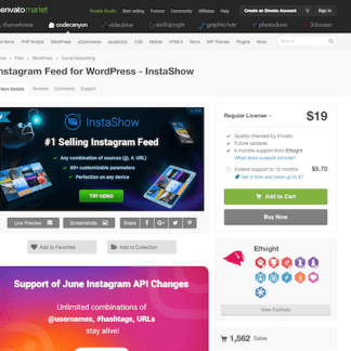 Codecanyon: InstaShow - Instagram Feed for WordPress