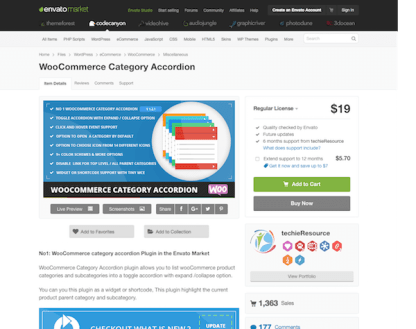 Codecanyon: WooCommerce Category Accordion