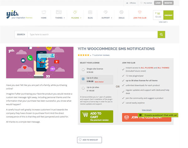 YITH WooCommerce: SMS Notifications Premium