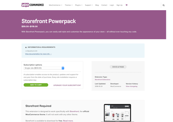 WooThemes Storefront: Powerpack