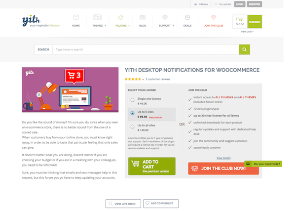 YITH WooCommerce: Desktop Notifications