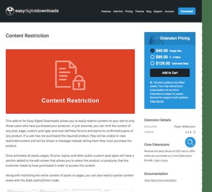 Easy Digital Downloads: Content Restriction