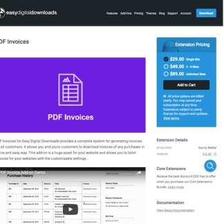 Easy Digital Downloads: PDF Invoices