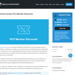Easy Digital Downloads: Restrict Content Pro Member Discounts