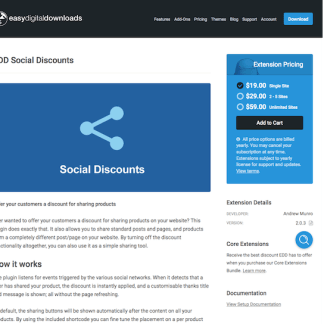Easy Digital Downloads: Social Discounts