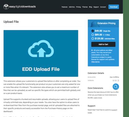 Easy Digital Downloads: Upload File