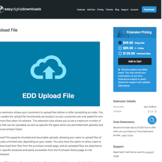 Easy Digital Downloads: Upload File