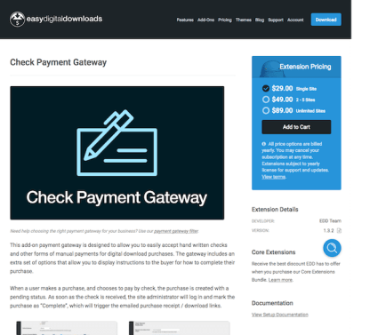 Easy Digital Downloads: Check Payment Gateway