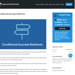 Easy Digital Downloads: Conditional Success Redirects