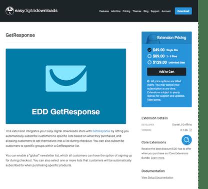 Easy Digital Downloads: GetResponse