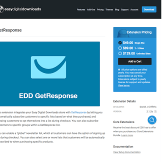 Easy Digital Downloads: GetResponse