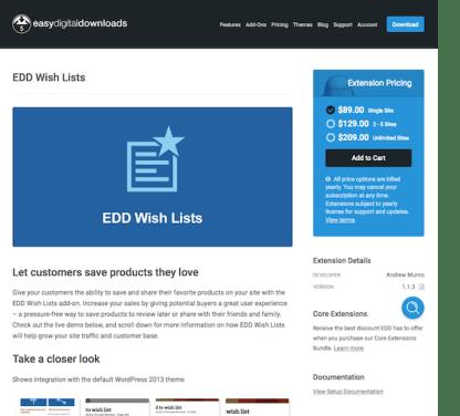 Easy Digital Downloads: Wish Lists