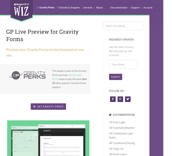 Gravity Perks: Live Preview
