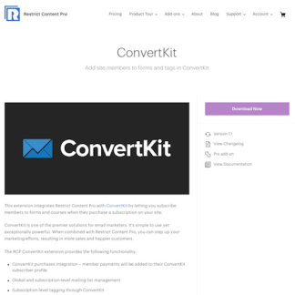 Restric Content Pro: ConvertKit