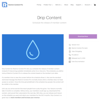 Restric Content Pro: Drip Content