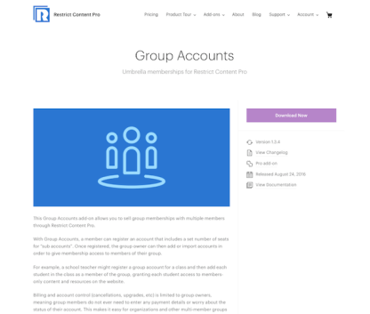 Restric Content Pro: Group Accounts