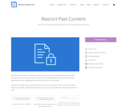 Restric Content Pro: Restrict Past Content