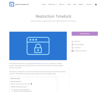 Restric Content Pro: Restriction Timelock
