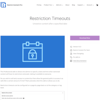Restric Content Pro: Restriction Timeouts