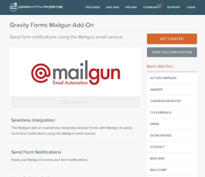Gravity Forms: Mailgun Addon