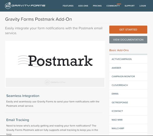 Gravity Forms: Postmark Addon