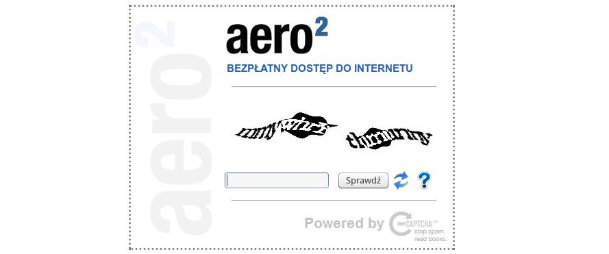 Aero2 – znowu nieczytelne kody CAPTCHA