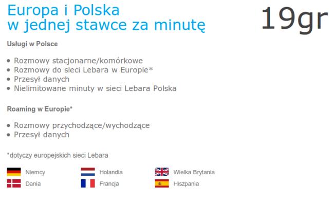 Lebara Mobile Polska Jedna stawka