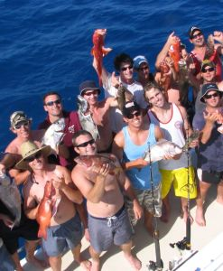 A massive happy fishing crowd