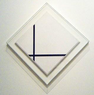 mondriaan ruitvormige compositie met twee lijnen