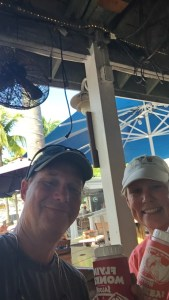 Celebrating our safe arrival with a frozen rum drink at the Flying Monkey in Key West.