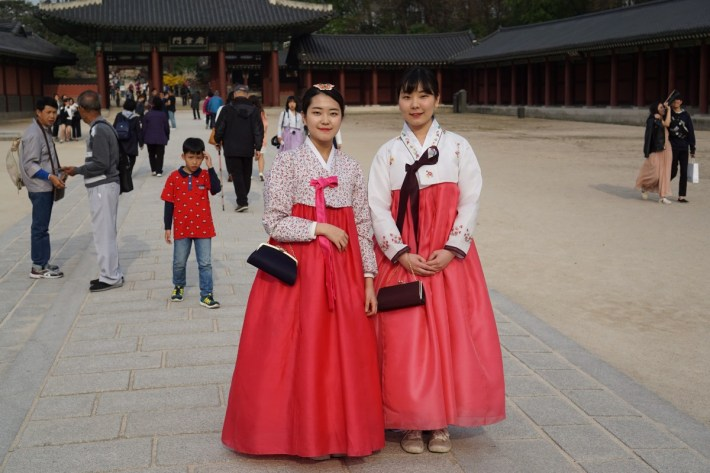 Two Korean Girls wearing Hanbok in Chang-deok- gung (창덕궁)