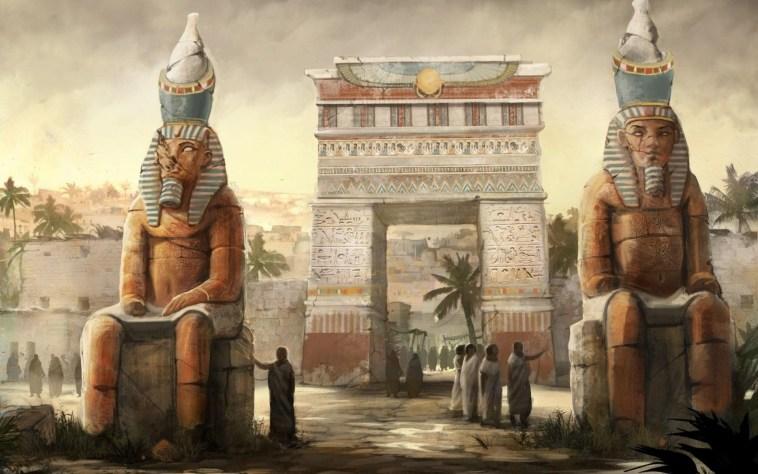 عذراً شامبليون .. لست أول من فك رموز الهيروغليفية المصرية Fantasy-art-people-digital-art-egyptian-statue-town-hieroglyphics-stone-house-1920x1200