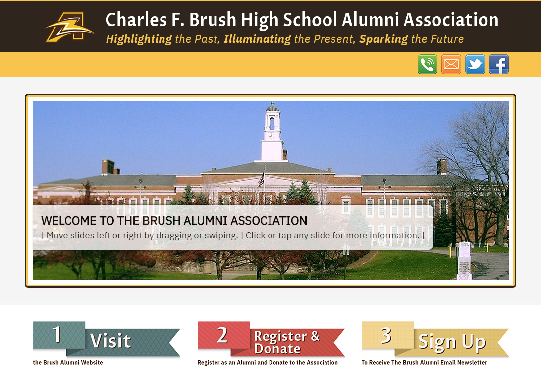 Screen shot of the new Charles F. Brush High School Alumni Association Landing Page at BrushAlumni.com.
