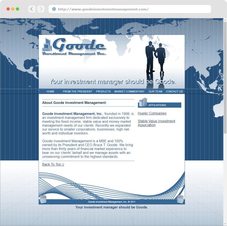Goode Investment Management, Inc. Website Design (#2)completed circa 2011.