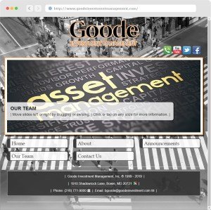 Goode Investment Management, Inc. Website Design (#3) completed May 1st 2019.
