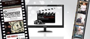 Image. Author Rick Porrello Facebook Page Timeline photo. Several film strips show different shots from Rick's different careers as well as the books he's written. In the center is a flat screen with a Clapperboard on it that reads Rick Porrello. Author and Screenwriter.