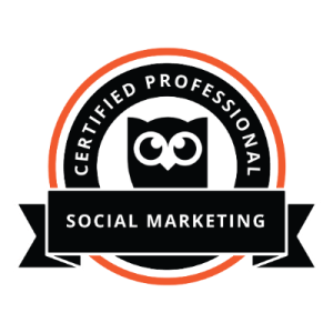 Hootsuite Certified Professional Social Marketing Certification Badge.