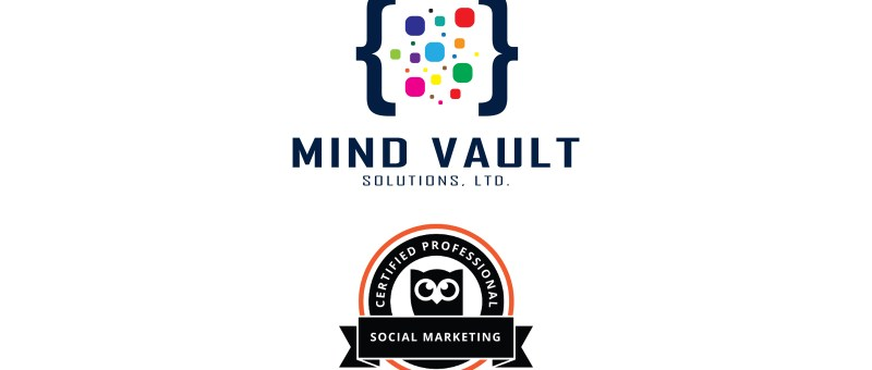 Mind Vault Solutions, Ltd. logo sits above the Hootsuite Certified Professional Social Marketing certification badge.