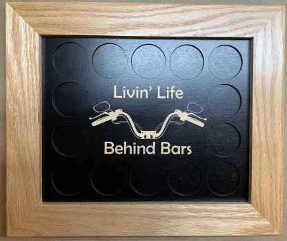 8x10 Poker Chip Display with Oak Frame Livin Life Behind Bars