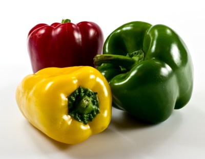 Colorful paprika on white background
