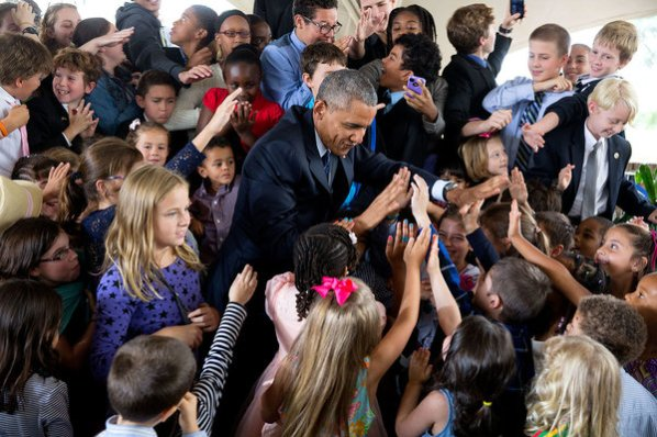 "July 25, 2015 ""I love looking at all the individual faces in this photograph of the President greeting children at the U.S. Embassy in Nairobi, Kenya."" (Official White House Photo by Pete Souza)"