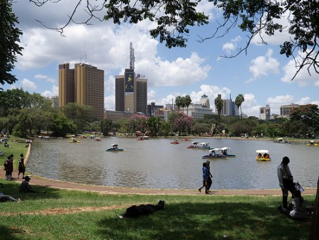 Uhuru Park lake with view of Johny Walker Billboard