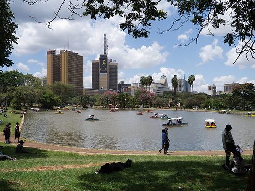 Uhuru Park lake with view of Johny Walker Billboard